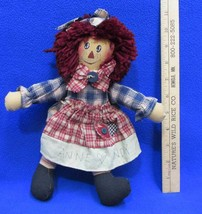 "Raggedy Ann Folk Art Doll Toy 11"" Anne Loves Andy Dress Primitive Rustic - $9.89"