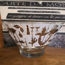 22k Gold Frosted Lobster Fishing Themed Salad Chip Punch Bowl MCM Vintag... - $49.50