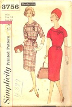 1960s Kimono Sleeve Dress 2 Pc Collar Simplicity 3756 Pattern Vintage - $9.99