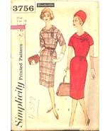 1960s Kimono Sleeve Dress 2 Pc Collar Simplicity 3756 Pattern Vintage - $9.99