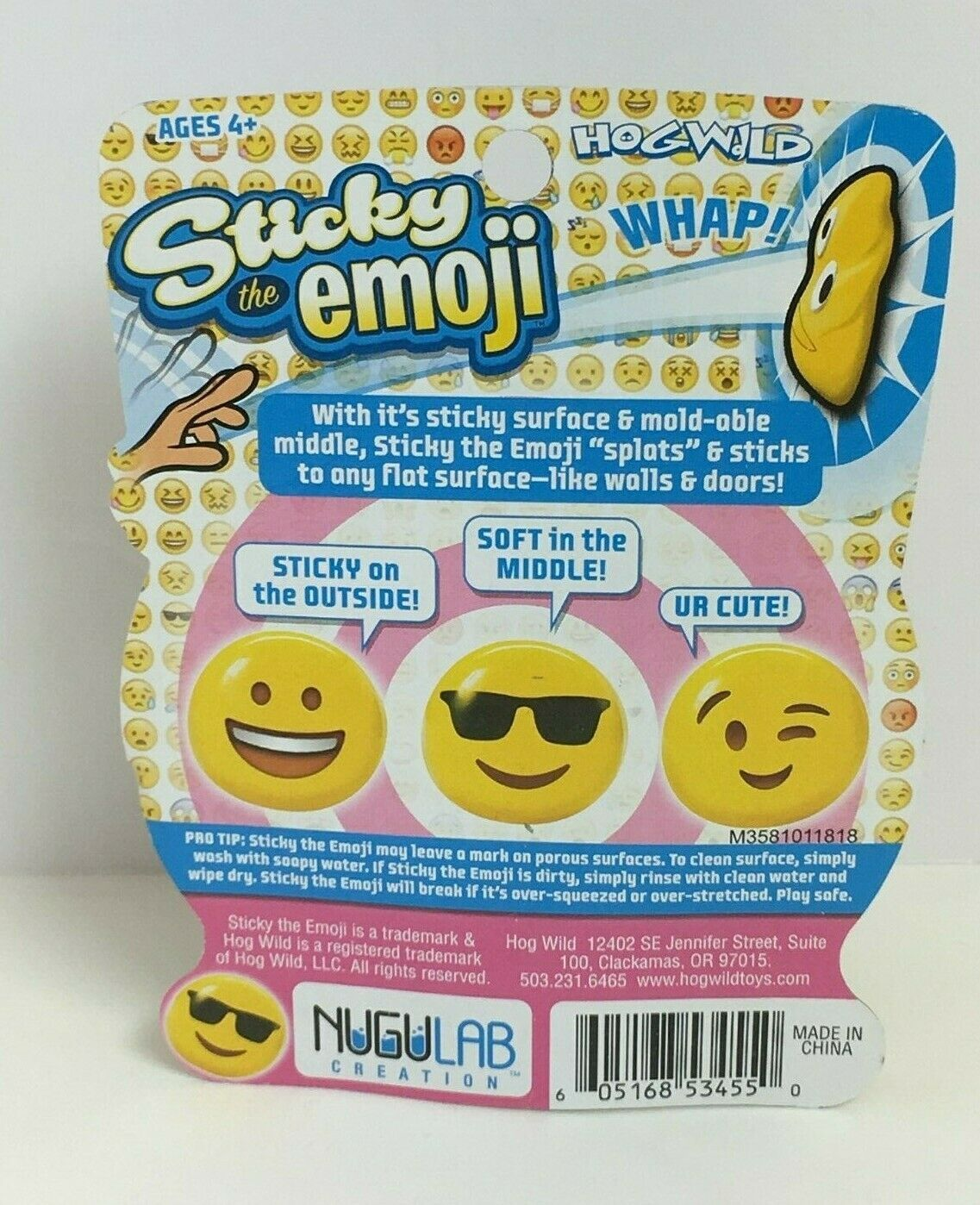 HogWild Yellow Sticky The Emoji W/SunGlasses Stikball W/ Mold-Able Middle