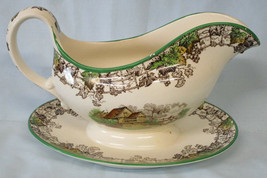 Spode Byron Gravy or Sauce with Attached Plate Multi Color with Green Trim  - $48.40