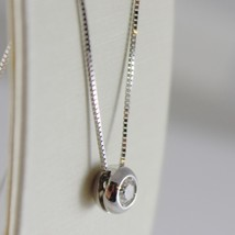 18K WHITE GOLD NECKLACE WITH DIAMOND 0.12 CARATS, VENETIAN CHAIN MADE IN ITALY image 2