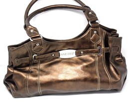 Nine West Shiny Bronze Synthetic Leather Large Tote Shoulder Bag Purse - $35.99