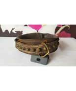 Antique Victorian Dog Leather Collar with Brass Studs - $174.85
