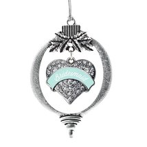 Inspired Silver Mint Bridesmaid Pave Heart Holiday Decoration Christmas Tree Orn - $14.69