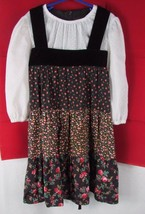 Girl's 7 vintage JC Penney's jumper dress flowers dot peasant top velvet... - $29.69