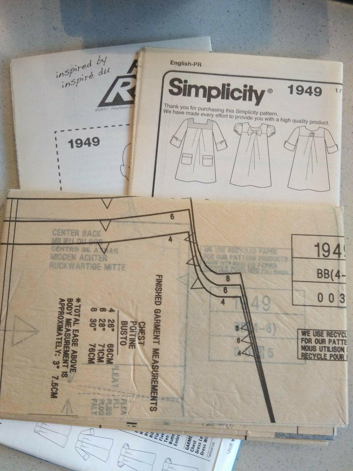 Girls dress sewing pattern Lot Simplicity McCalls Uncut W. Instructions