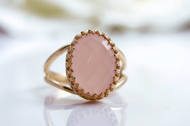 pink chalcedony ring,pink gold ring,gemstone ring,semiprecious rings - $45.00+