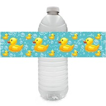 Rubber Ducky Bubble Bath Baby Shower Water Bottle Labels (Set of 20) - $12.29