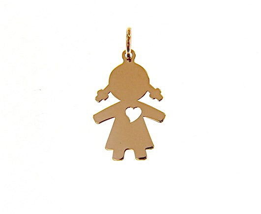 18K ROSE GOLD LUSTER PENDANT WITH GIRL BABY WITH HEART PERFORAT MADE IN ITALY