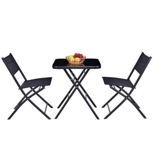 Square Table 2 Chairs Set Oudoor Patio 3 Pcs Bistro Sets Garden Folding Tables