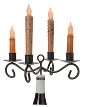 4 Taper Candle Wine Bottle Topper Wrought Iron Holder For Dinner Candles Usa - $24.72