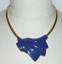 VTG TRIFARI Modernist Abstract Art Deco Gold Tone Purple Lucite Choker NWT - $99.00