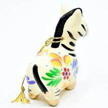 Handcrafted Painted Ceramic White Zebra Confetti Ornament Made in Peru image 4