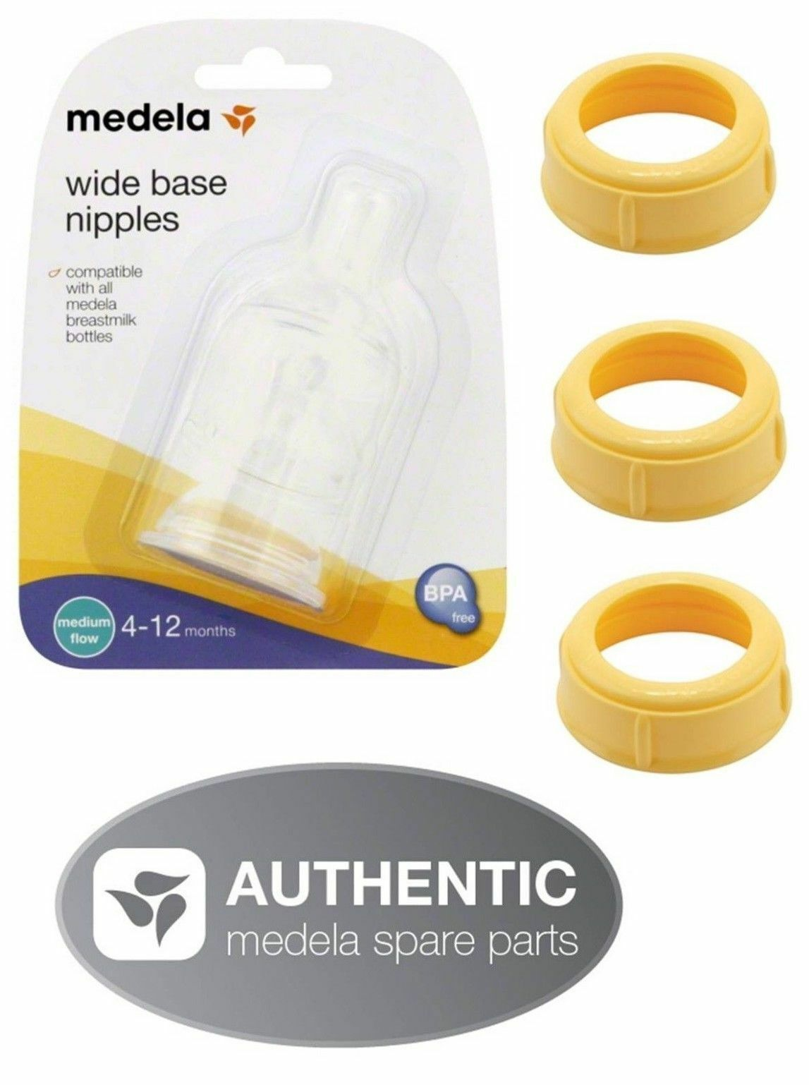 Primary image for MEDELA BOTTLE NIPPLES slow or medium flow & COLLARS collar rings ring nipple