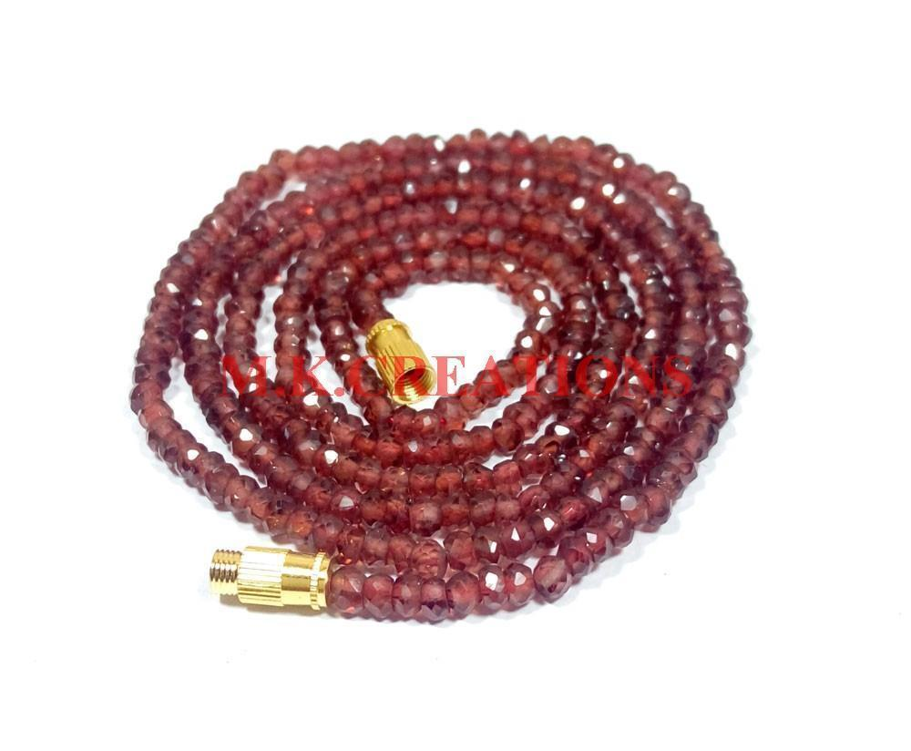 "Natural Mozambique Garnet 3-4mm Rondelle Faceted Beads 16"" Long Beaded Necklace"