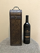 "Decorative Wood & Brass Tone Wine Bottle Carry Case -14"" H x 4 1/2"" W x ... - $19.31"