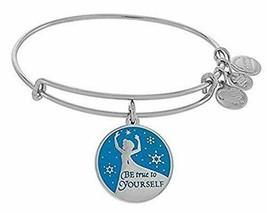 Disney Frozen Queen Elsa Be True to Yourself Bangle Charm Bracelet Silver - $44.54