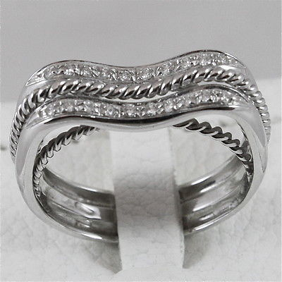 18K 750 WHITE GOLD RING WITH DIAMONDS, BAND ONDULATE, MADE IN ITALY