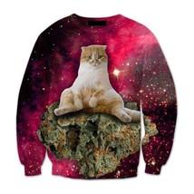 3d Kitten Cat in Space Galaxy Dope Sweatshirt - $38.99