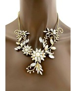 Floret Bib Necklace Earrings Set Faux Pearls, Lucite Rhinestone Pageant ... - $18.95