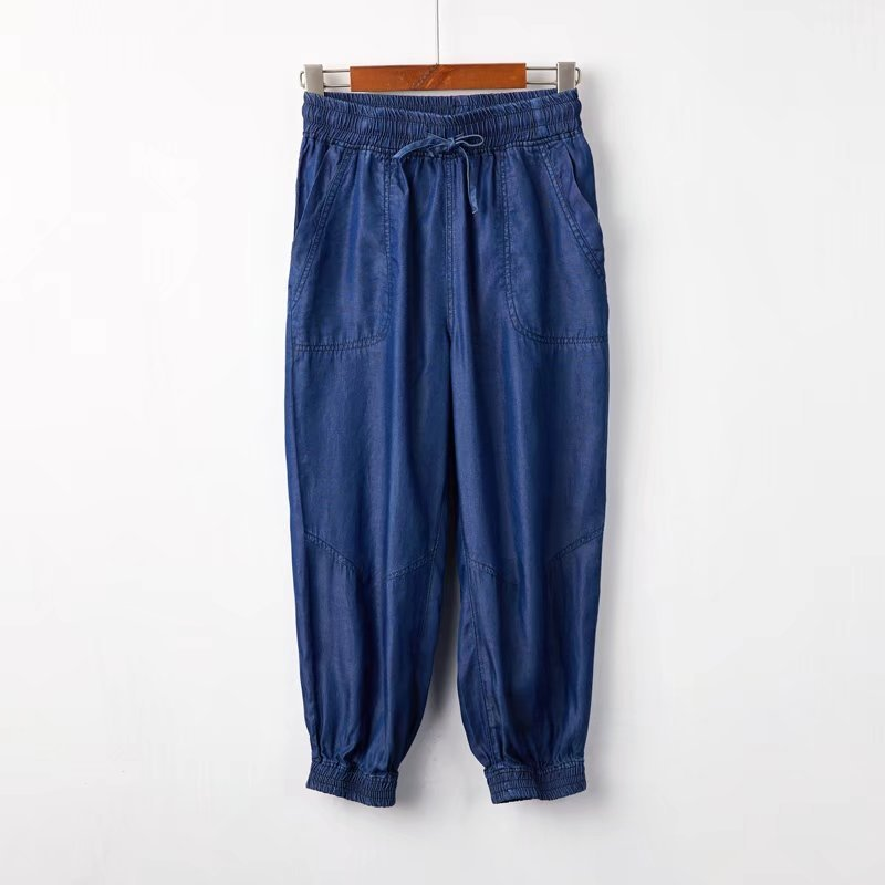 Dark Blue Denim CROP PANTS Drawstring Elastic Waisted Crop HAREM PANTS Trousers