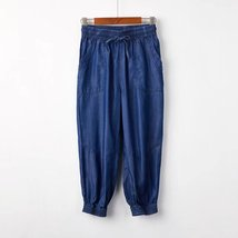 Dark Blue Denim CROP PANTS Drawstring Elastic Waisted Crop HAREM PANTS Trousers image 1