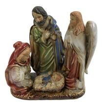 Vintage Nativity Manger Scene Pottery Figurine with Iridescent Glaze Angel - $19.79