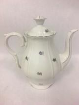 Vintage  Porcelain Tea pot  Lid  Silver Czechoslovakia dinnerware 9 in. ... - $50.49