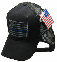 Black Grey MESH USA Tactical Thin Blue Line Hat Support Police Law Enforcement - $21.77