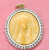 ANTIQUE IMMACULATE CONCEPTION MADONNA 18K RELIGIOUS PENDANT c1900 FRANCE... - $1,137.51