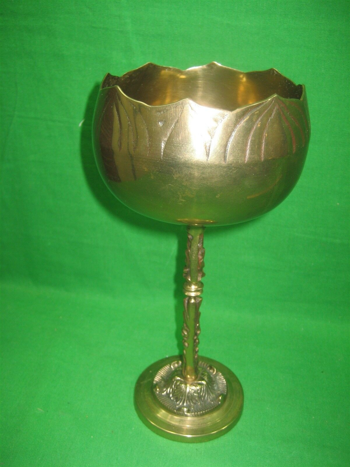 """Vintage Brass Etched Bowl Centerpiece on Pedestal Stand Made In Korea 10"""" Tall"""