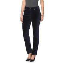 DG2 Diane Gilman Stretch Velvet Woven 5-Pocket Skinny Jean Navy 16WP NEW... - $35.62