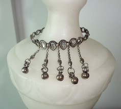 SILVER tone BRACELET Crystals Charms Dangling Chains Gypsy Bellydancing ... - $3.99