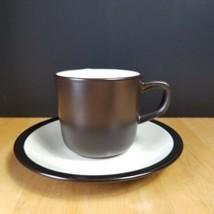 Mikasa Terra Stone Vanilla E1955 Cup & Saucer Set Speckled Beige Brown Trim - $4.94