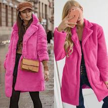 Women's Trendy Pink Thicken Faux Fur Lapel Parka Collar Jacket Winter Coat image 2