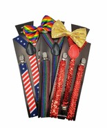 Great BOWTIE SUSPENDER SET SELECTIONS in Colorful Rainbow Pride USA Flag... - $10.00