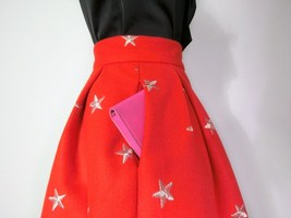 CHRISTMAS RED Winter Wool Midi Pleat Skirt High Waist Midi Skirt w. Star Pattern image 6