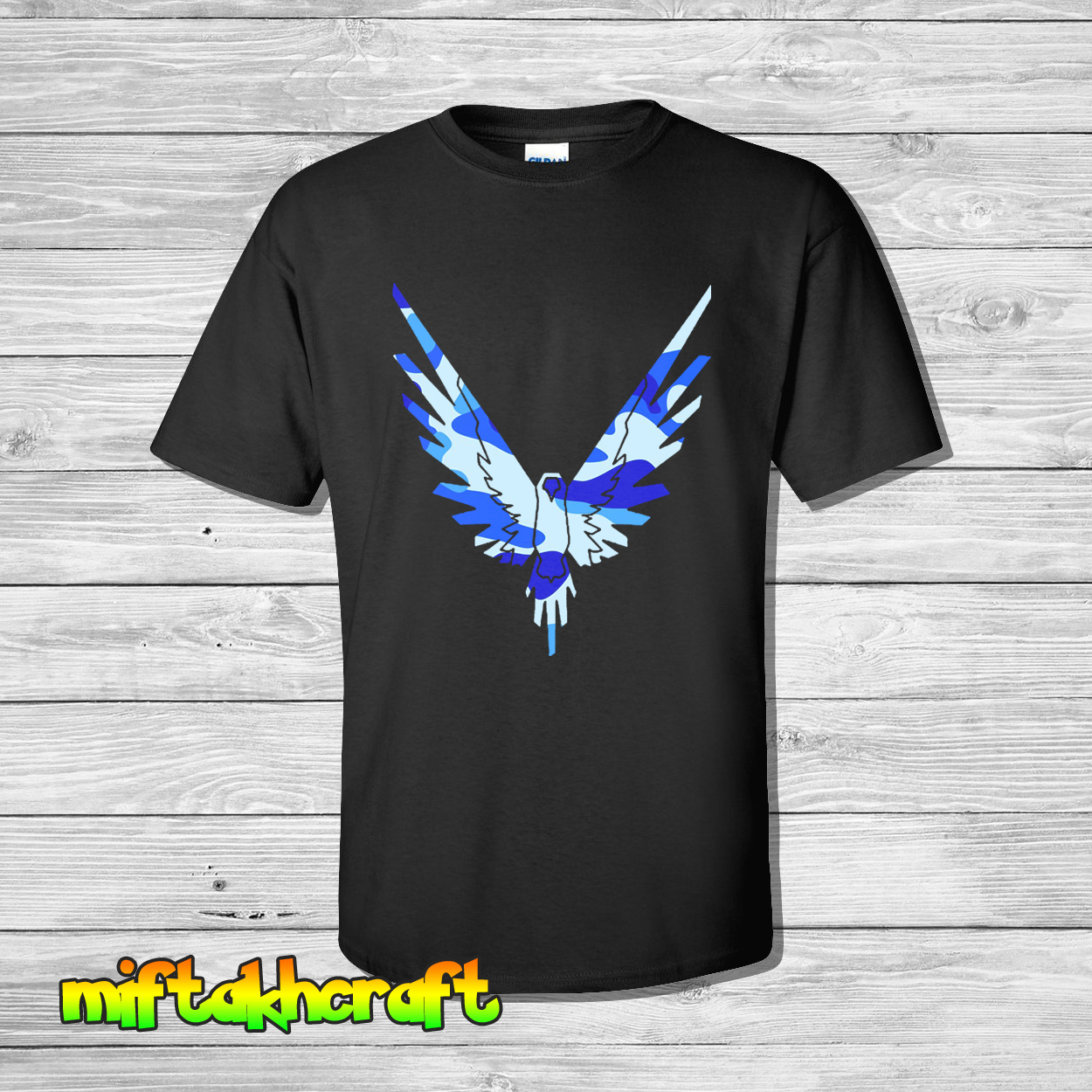 New logan paul bird logo maverick logang blue camo custom for Gildan camouflage t shirts