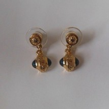 Signed Burberrys Gold-tone & Blue Dangle Pierced Earrings - $94.05