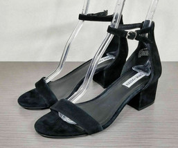 Steve Madden Irenee Ankle Strap Sandal, Black Suede, Womens Size 8.5 M - $25.19