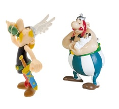 Asterix magic potion and Obelix holding Idefix plastic figurine set Plastoy