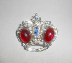 Rhinestone Crown Brooch Coro Craft Pin Vintage Jewelry Rhodium Plate  - $52.25