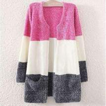 Loose Stitching Stripes Women Cardigan - $26.50