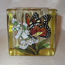 Yellow Butterfly Candle Holder or Tea Light AMIA Votive Hand Painted Glass  - $22.76