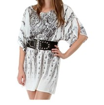 open shoulder short cocktail clubwear tunic mini dress belted - $13.00