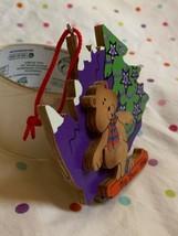 "1999 Big Bear Wood Christmas Tree Holiday Ornament Decoration 4"" - $14.03"