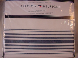 Tommy Hilfiger Baja Navy Stripe on White Sheet Set Queen - $54.00