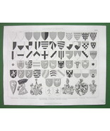 HERALDRY Coat of Arms Shields Germany Austria - Original Print Engraving - $9.45